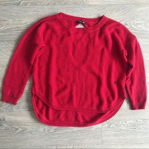 TITIKA Red High-Low Sweater with Back Cutout